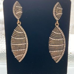Bronze toned earrings with CZ STONES